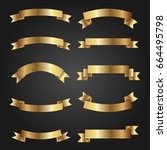 set of golden ribbons on black... | Shutterstock .eps vector #664495798
