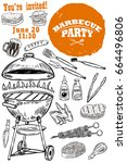 barbecue party invitation...   Shutterstock .eps vector #664496806