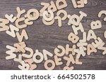 wooden letters on wooden board... | Shutterstock . vector #664502578