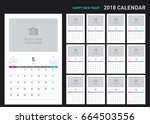 simple calendar layout for 2018 ... | Shutterstock .eps vector #664503556
