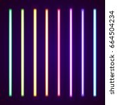 neon tube light pack isolated... | Shutterstock .eps vector #664504234