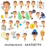 set of various poses of... | Shutterstock .eps vector #664508794