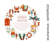 summer vacation beach icon... | Shutterstock .eps vector #664509010