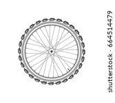 front monochrome wheel of bike... | Shutterstock .eps vector #664514479