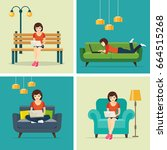 set freelancer jobs at home and ... | Shutterstock .eps vector #664515268