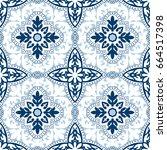 beautiful ornamental tile... | Shutterstock .eps vector #664517398