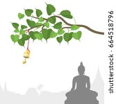 buddha statue and bodhi tree... | Shutterstock .eps vector #664518796
