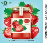 strawberry bottle.vector | Shutterstock .eps vector #664520800
