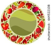 vector fruits and vegetables on ... | Shutterstock .eps vector #664522108