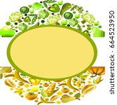 vector fruits and vegetables on ... | Shutterstock .eps vector #664523950
