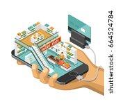 online shopping isometric... | Shutterstock .eps vector #664524784