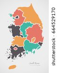 south korea map with states and ... | Shutterstock .eps vector #664529170