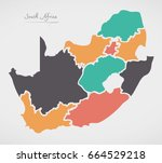 south africa map with states... | Shutterstock .eps vector #664529218