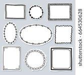 doodle frames set   frames with ... | Shutterstock .eps vector #664530628