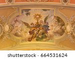 Small photo of TURIN, ITALY - MARCH 13, 2017: The fresco of Eucharistic adoration of angels in ceiling of church Chiesa di Santo Tomaso by N. Arduino (1938).
