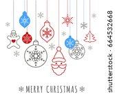digital vector blue happy new... | Shutterstock .eps vector #664532668