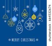 digital vector blue happy new... | Shutterstock .eps vector #664532674