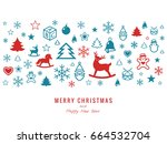 digital vector white happy new... | Shutterstock .eps vector #664532704