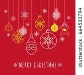 digital vector red happy new... | Shutterstock .eps vector #664532794