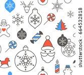 digital vector red blue happy... | Shutterstock .eps vector #664532818