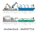 industrial ships. dry cargo... | Shutterstock .eps vector #664537714