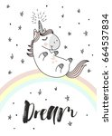 Stock vector magic cute unicorn on the rainbow doodle nursery art 664537834