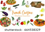 hand drawn french cuisine... | Shutterstock .eps vector #664538329