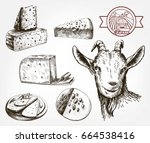 head of a goat. goat cheese.... | Shutterstock .eps vector #664538416
