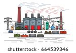 iron and steel works  blast... | Shutterstock .eps vector #664539346