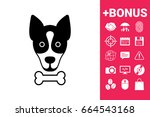 dog with bone  logo  symbol ... | Shutterstock . vector #664543168