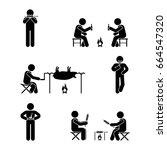 stick figure picnic set. vector ... | Shutterstock .eps vector #664547320