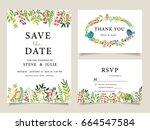 wedding invitation card... | Shutterstock .eps vector #664547584