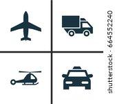 transportation icons set.... | Shutterstock .eps vector #664552240