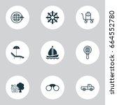 tourism icons set. collection... | Shutterstock .eps vector #664552780