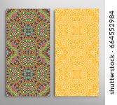 vertical seamless patterns set  ... | Shutterstock .eps vector #664552984