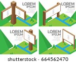 isometric wood board or frame. | Shutterstock .eps vector #664562470
