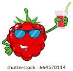 funny raspberry fruit cartoon... | Shutterstock .eps vector #664570114