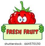 raspberry fruit cartoon mascot... | Shutterstock .eps vector #664570150