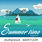 tropical island with palms. sea ... | Shutterstock .eps vector #664571224
