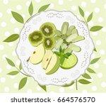 vector image of sliced fruit... | Shutterstock .eps vector #664576570
