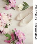 wedding. a bouquet of pink ... | Shutterstock . vector #664578469