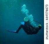 scubadiver in a sidemount... | Shutterstock . vector #664578673