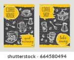 coffee shop brochure flyer... | Shutterstock .eps vector #664580494