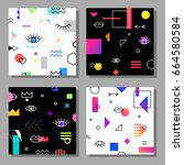 set of artistic creative cards... | Shutterstock .eps vector #664580584