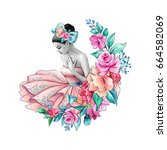 watercolor illustration  flower ... | Shutterstock . vector #664582069