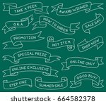 hand drawn ribbon banners set... | Shutterstock .eps vector #664582378