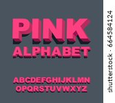 3d font. three dimensional pink ... | Shutterstock .eps vector #664584124