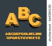 3d font. three dimensional... | Shutterstock .eps vector #664584130