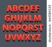 3d font. three dimensional... | Shutterstock .eps vector #664584133