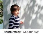 a charming little boy standing... | Shutterstock . vector #664584769